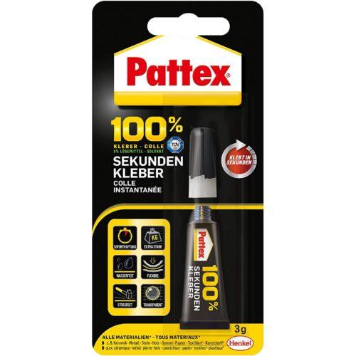 Pattex 100 % Kleber Sekundenkleber Produktbild Blisterkarte